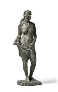 stehende mit tuch (standing female nude with waistcloth) by hildi hess