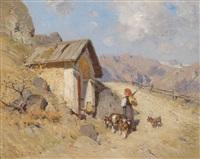 ziegenhirtin in den bergen by emil hermann hartwich