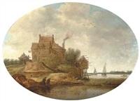a river landscape with peasants fishing near an inn by jan coelenbier
