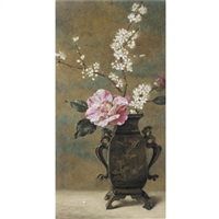 still life of pink roses by helen cordelia angell