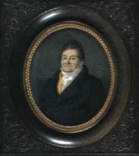 a gentleman with dark hair, wearing a blue coat, yellow   waistcoat and a white cravat by alphonse de labroue