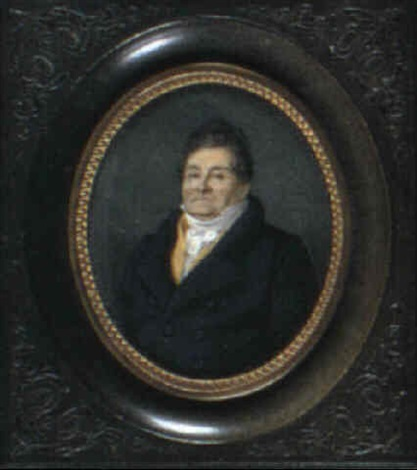 a gentleman with dark hair wearing a blue coat yellow waistcoat and a white cravat by alphonse de labroue