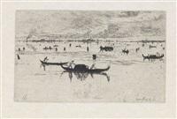 laguna venita * chine collé * auf staufa bruck (3 works) by otto henry bacher