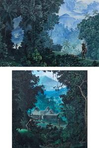 angon bebek and bali life (2 works) by i gusti agung wiranata