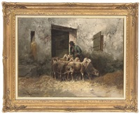 a shepherd and his flock, in a stable by battiguant