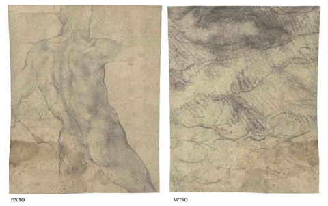 a male nude seen from behind male nudes studies verso by michelangelo
