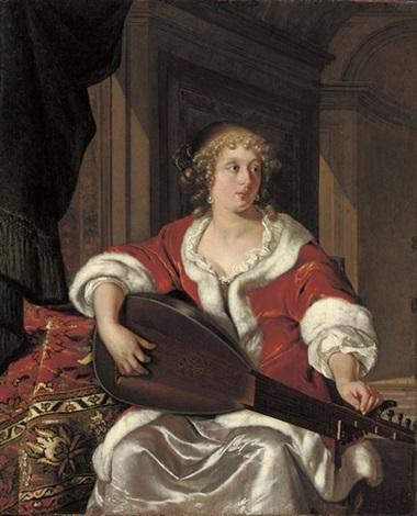 a lady tuning a luth theorbé by eglon hendrik van der neer