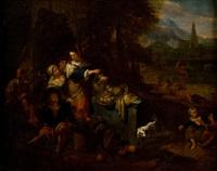 sosta di contadini presso un rudere antico (scena di genere)(+ danza di contadini in un paesaggio (scena di genere); pair)(genre scenes) by dirk helmbreker