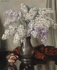 still life of flowers with lilacs by willy fleur