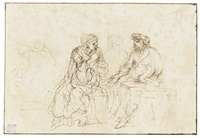 three figures seated on a bench by stefano della bella