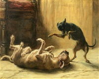 playmates (manchester terrier) by briton riviere