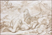 saint jérôme et son lion (sketch) by domenico piola