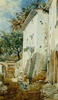 a mother and child in a courtyard by francesco raffaello santoro