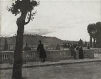 vue de rome depuis la terrasse du jardin de la villa médicis by georges paul leroux