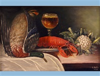 still life with lobster, duck, glass and cauliflower by ernst aebi