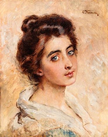portrait of a young woman by konstantin egorovich makovsky