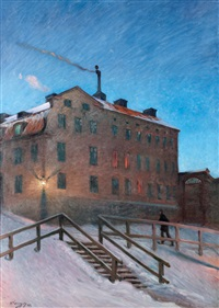 gammalt hus i katarina (old house in katarina, street scene from stockholm) by nils kreuger