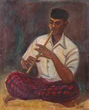 man playing flute by agus djaya