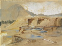 the great thermal springs of gardiner's river montana by thomas moran