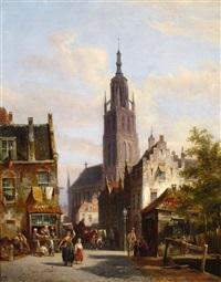 dutch street scene by pieter cornelis dommersen