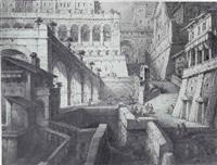 view of a fantastic piazza by antonio basoli