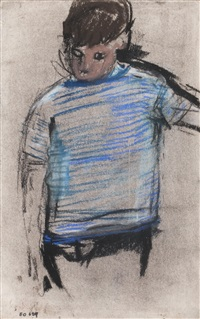 boy in striped jersey by joan kathleen harding eardley