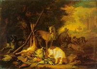 hounds guarding dead game birds with a huntservant at rest nearby, horsemen beyond by anton de gryeff