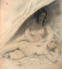 etude pour lesbos de charles beaudelaire (recto-verso study) by armand rassenfosse