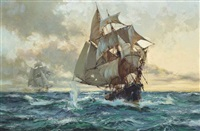 a smuggler under pursuit by a revenue cutter by montague dawson
