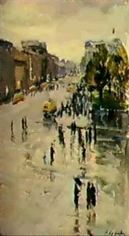 avenue nevsky a saint-petersbourg by victor korovin