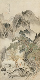 春山观瀑 (gazing at the waterfall in the spring mountain) by liu yanchong