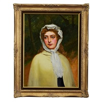 girl with lace scarf by charles sillem lidderdale