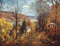 hillside view in autumn by c. harry allis