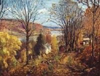 hillside view in autumn by c. harry allis