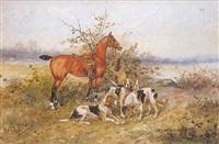 chiens et cheval au relais by rené valette