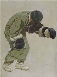 a very gallant gentleman (captain l.e.g. oates walking out to his death in the blizzard, on captain scott's return journey from the south pole, march 1912) by john charles dollman
