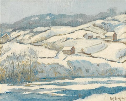 hillside in winter by guy carleton wiggins