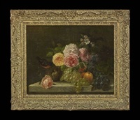 floral still life with a bird's nest on a marble ledge by jean-baptiste robie