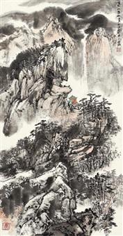 高山流水 立轴 设色纸本 by ya ming