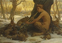 young marsyas (marsyas enchanting the hares) by elihu vedder