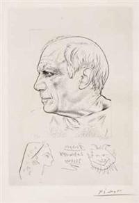 portrait de pablo picasso et remarque pour témoignage by paul p. lemagny and pablo picasso