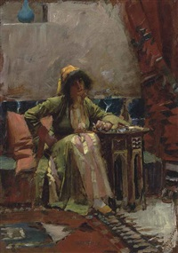 an eastern interior with a seated girl by john william waterhouse