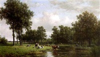 a peasant with cows in a summer landscape by willem vester