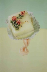 four petits fours (study for walking cake), yellow by laurie simmons