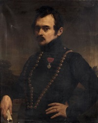 portrait d'officier tenant l'emile de jean-jacques rousseau dans sa main by jules (jean-françois-hyacinthe) laure