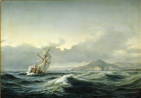 seascape with a sailing ship in rough sea in the background a rocky coast by daniel hermann anton melbye