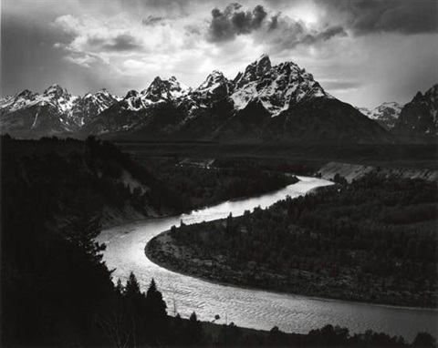 the grand tetons and the snake river by ansel adams