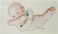 swan-diving kewpie with life preserver by rose o'neill