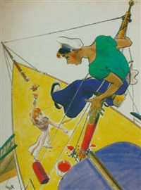 sailor stranded by eager mast-painting woman by earl oliver hurst