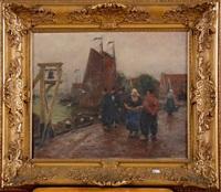 port de pêche animé en hollande by edgard farasyn